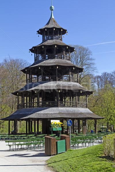 Histórico torre Munique Alemanha cerveja jardim Foto stock © haraldmuc