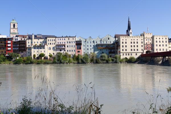 Pequeño pueblo Alemania cielo casa río Foto stock © haraldmuc