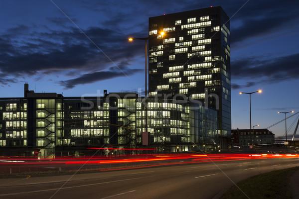 занят дороги офисных зданий Мюнхен Германия ночь Сток-фото © haraldmuc