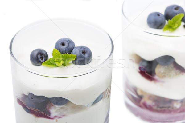 Blueberry Mascarpone Dessert in a glass Stock photo © haraldmuc
