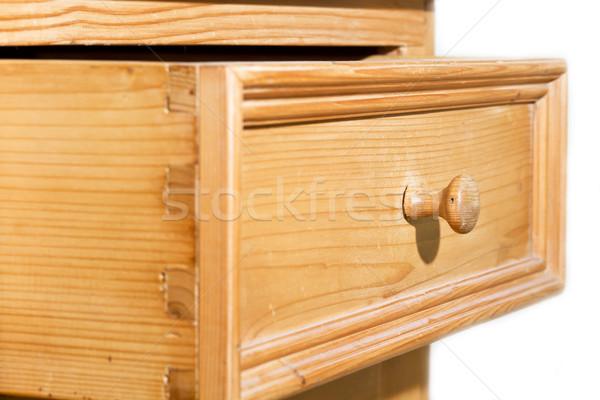 Fából készült fiók nyitva fogantyú ház terv Stock fotó © haraldmuc
