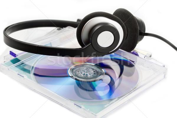 Kompakt cds kulaklık beyaz müzik ev Stok fotoğraf © haraldmuc