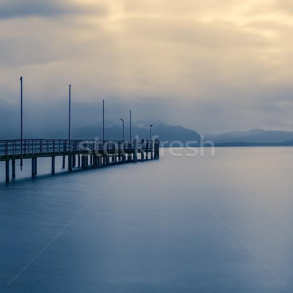 Tó Németország természet tájkép híd idő Stock fotó © haraldmuc