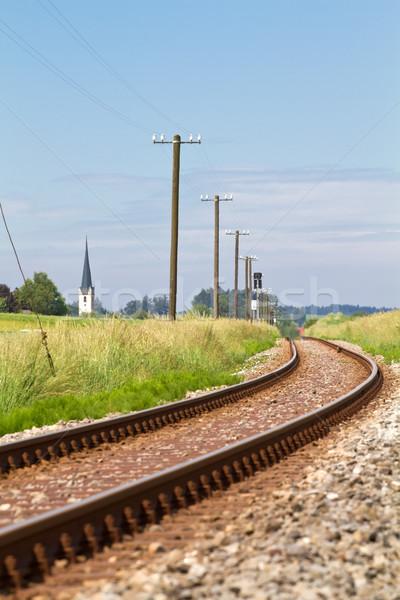 Einspurige Eisenbahnlinie im ländlichen Bereich, Bayern Stock photo © haraldmuc