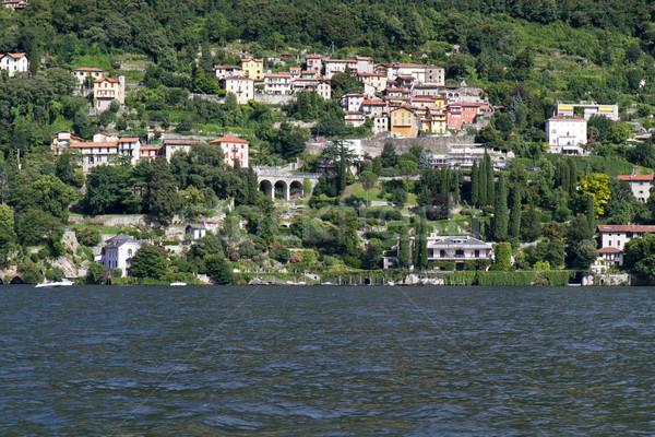 Residencial casas lago Italia agua edificio Foto stock © haraldmuc
