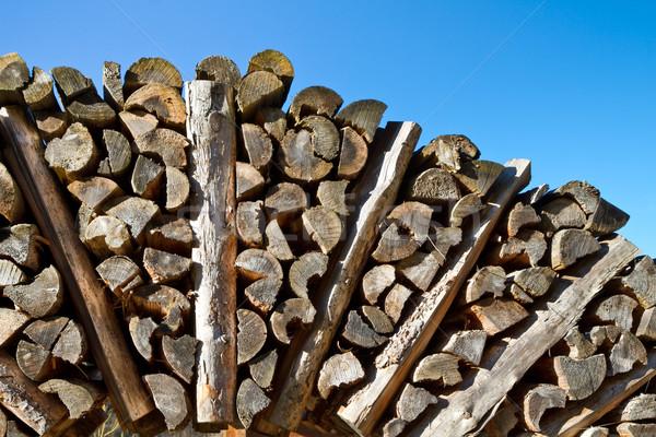 Brandhout blauwe hemel boom brand kruis industrie Stockfoto © haraldmuc