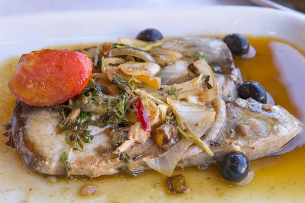 Tonno Pesce Bistecca Piatto Alimentare Cucina Foto D