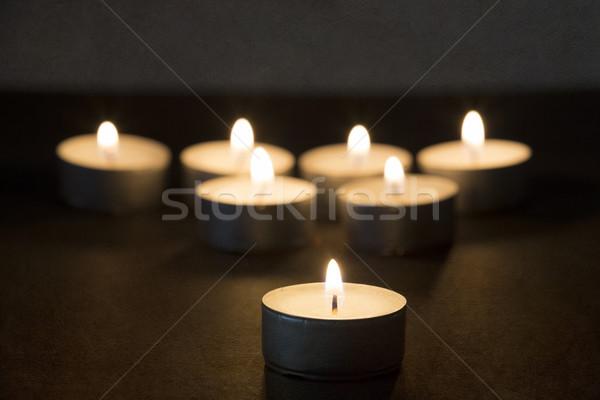 сжигание темноте текстуры огня фон свечу Сток-фото © haraldmuc