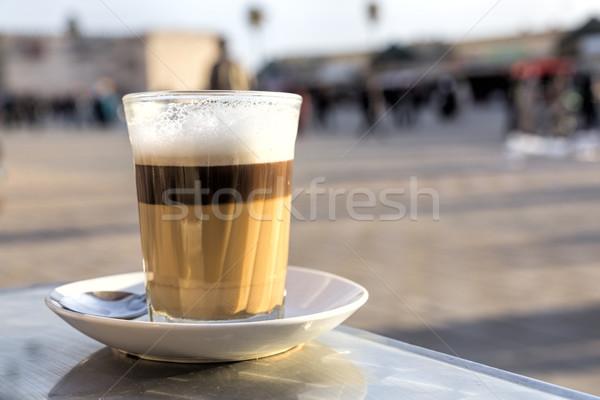 Single glass of latte macchiato Stock photo © haraldmuc