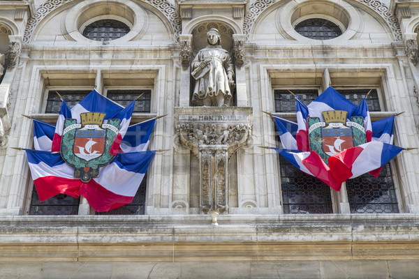 French national flags outside Hotel de Ville building, Paris Stock photo © haraldmuc