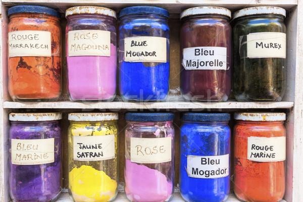 Venda mercado Marrocos pintar arte laranja Foto stock © haraldmuc