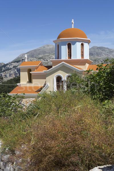 Stok fotoğraf: Kilise · ada · Yunanistan · Bina · doğa · mavi