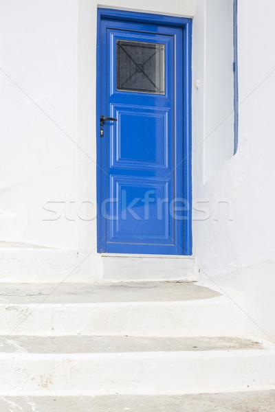 Fából készült ajtó lépcső Görögország Európa ház Stock fotó © haraldmuc