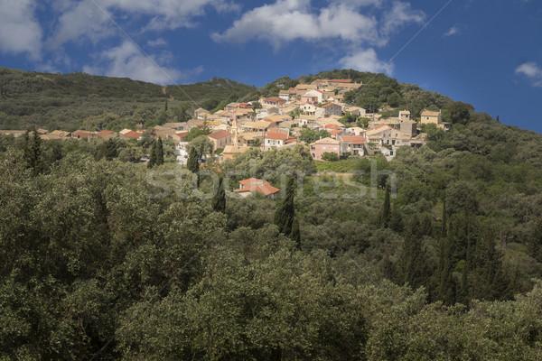 Greek mountain village on Corfu island, Greece Stock photo © haraldmuc