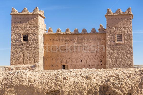 Eski Bina Fas çöl mavi Afrika Stok fotoğraf © haraldmuc