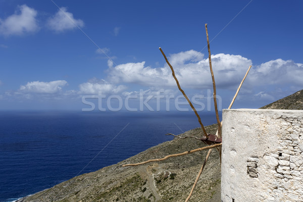 Old windmill overlooking the sea on Karpathos, Greece Stock photo © haraldmuc