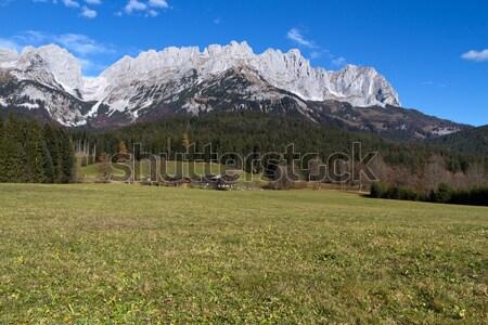 Stok fotoğraf: Dağlar · Avusturya · sonbahar · gökyüzü · ağaç · çim