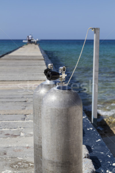 Zuurstof duiken strand sport metaal sport Stockfoto © haraldmuc