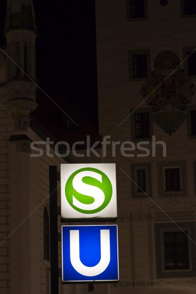 признаков Мюнхен подземных Германия ночь город Сток-фото © haraldmuc