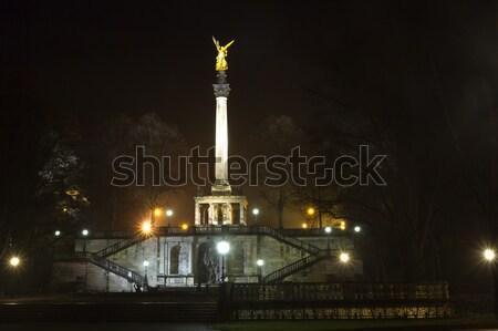 Estátua Munique Alemanha noite céu arte Foto stock © haraldmuc