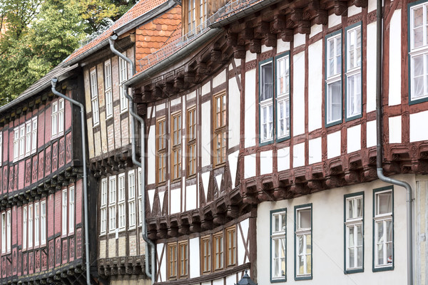 Facade of half-timbered houses in Quedlinburg town, Germany Stock photo © haraldmuc