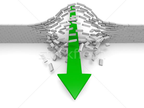 Sukces ilustracja zielone arrow murem przełom Zdjęcia stock © Harlekino