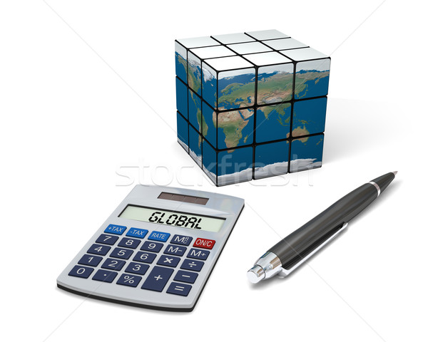 Wereldwijde business calculator pen model aarde business Stockfoto © Harlekino