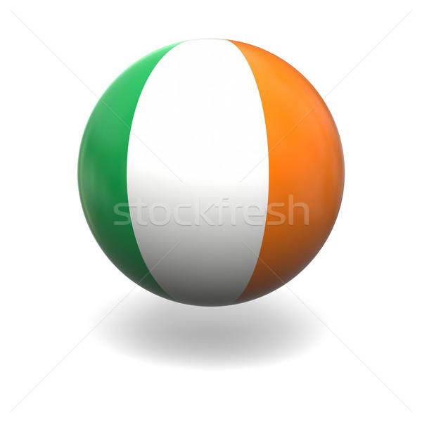 Foto stock: Irlandés · bandera · Irlanda · esfera · aislado · blanco
