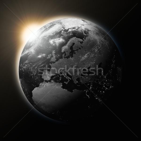 Photo stock: Soleil · Europe · sombre · planète · terre · isolé · noir