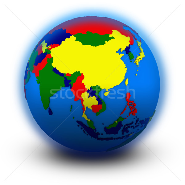 southeast Asia on political globe Stock photo © Harlekino
