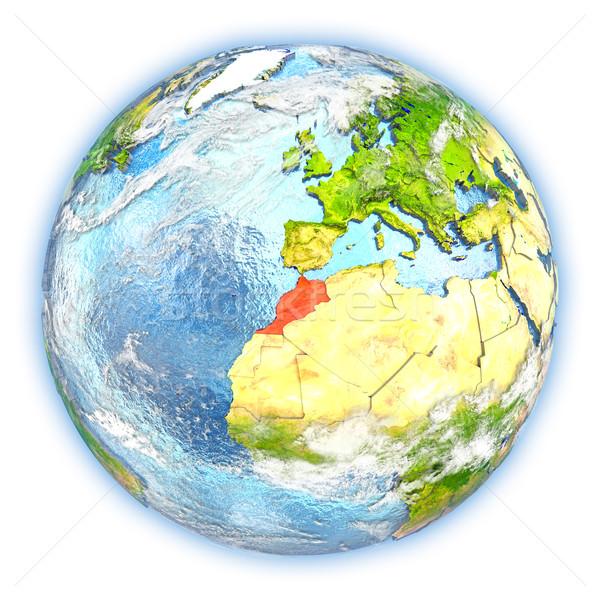 Marrocos terra isolado vermelho planeta terra ilustração 3d Foto stock © Harlekino