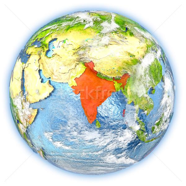 Índia terra isolado vermelho planeta terra ilustração 3d Foto stock © Harlekino