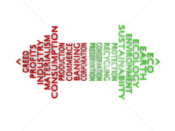 öko kapzsiság zöld nyíl ökológia piros Stock fotó © Harlekino