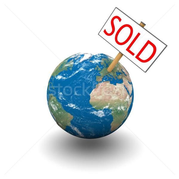 Stock fotó: Eladva · bolygó · felirat · Föld · izolált · fehér