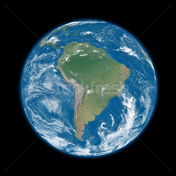 América del sur azul tierra planeta tierra aislado negro Foto stock © Harlekino