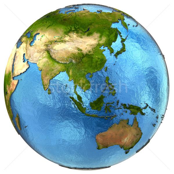 Asian continent aarde asia gedetailleerd model Stockfoto © Harlekino