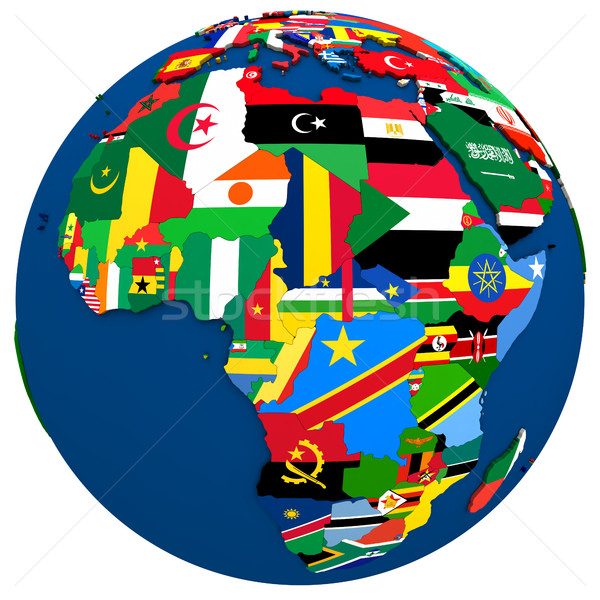 Politique Afrique carte pays pavillon 3d illustration Photo stock © Harlekino