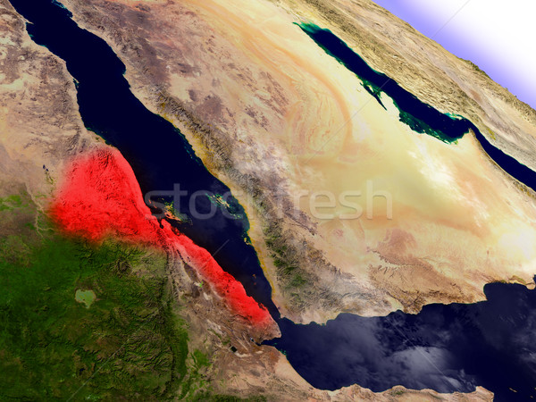 Eritrea from space highlighted in red Stock photo © Harlekino