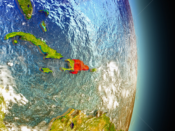 Dominican Republic in red from space Stock photo © Harlekino