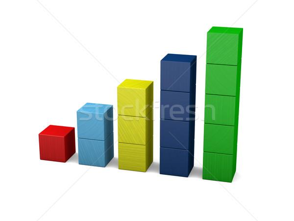 Growth made of wooden blocks Stock photo © Harlekino