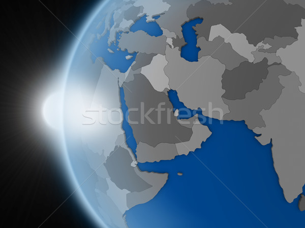Sunset over middle east region from space Stock photo © Harlekino