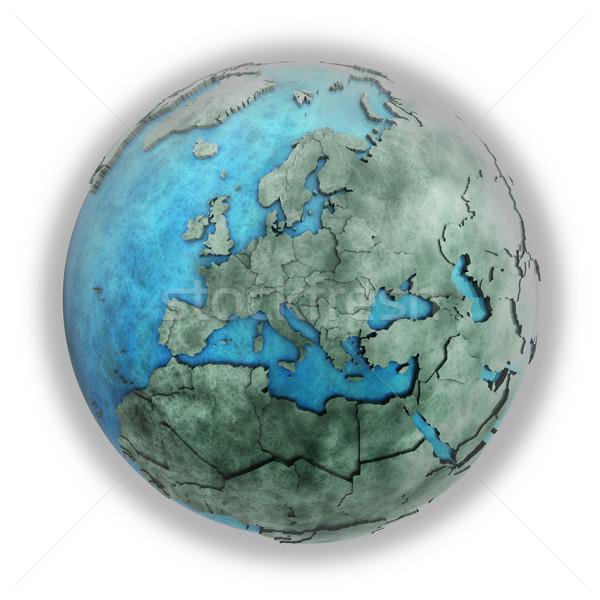 Stockfoto: Europa · marmer · aarde · 3D · model · Blauw
