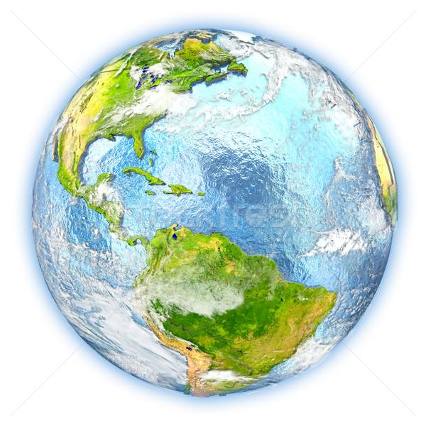 Caribbean terra isolado vermelho planeta terra ilustração 3d Foto stock © Harlekino