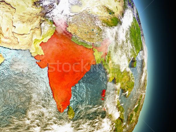 India in red from space Stock photo © Harlekino