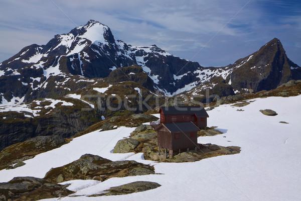 Montagne hutte Norvège scénique paysage Photo stock © Harlekino