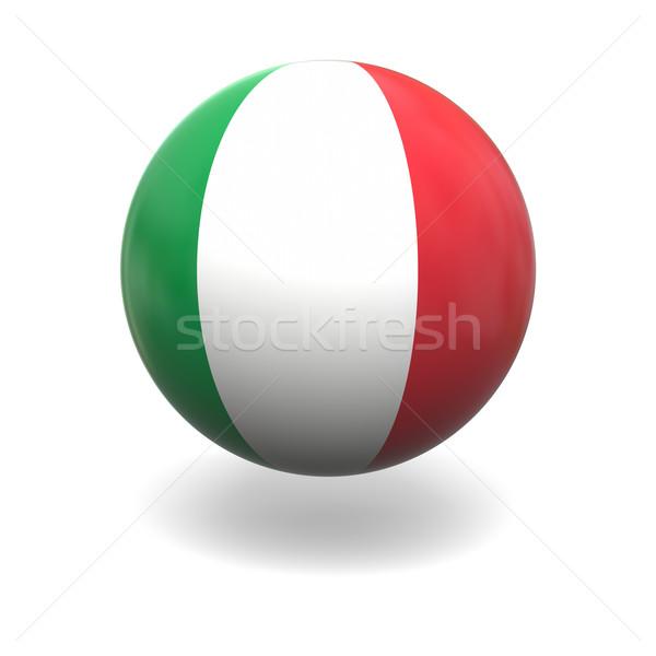 Drapeau italien pavillon Italie sphère isolé blanche Photo stock © Harlekino