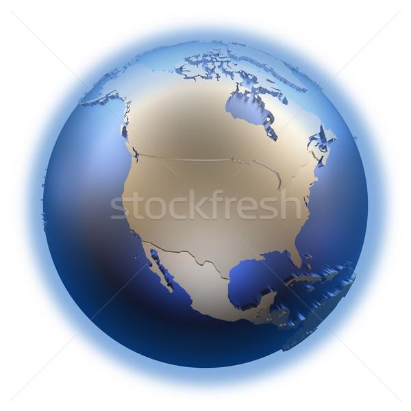 North America on golden metallic Earth Stock photo © Harlekino