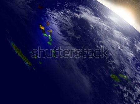 Új-Zéland űr napfelkelte régió pálya 3d illusztráció Stock fotó © Harlekino