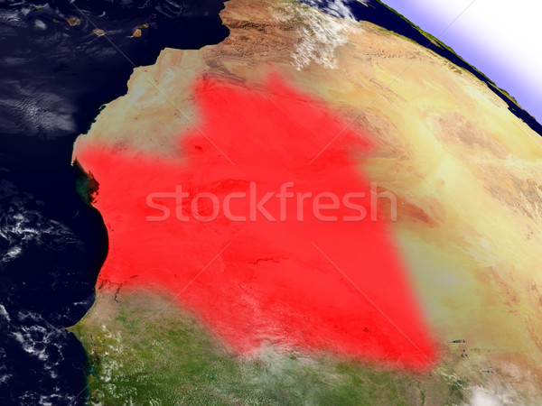 Mauritania from space highlighted in red Stock photo © Harlekino