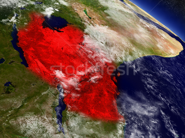 Stock photo: Tanzania from space highlighted in red